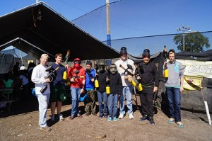 Paintball party with large group